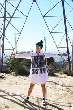 Susie Bubble wearing Marc by Marc Jacobs shirt dress, Cottweiler shorts, Dior sunglasses #susielau #stylebubble