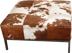 interior classics cowhide ottoman brown and white http