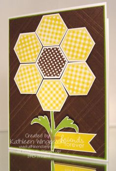 Six-Sided Sampler, Happy Flowers and Banner Greetings stamp sets; Whisper White, Early Espresso and Gumball Green card stock; Early Espresso, Gumball Green and Crushed Curry ink; Big Shot Stylish Stripes embossing folder and Hexagon punch. Patchwork Cards, Hexagon Cards, Sunflower Cards, Cards For Friends, Friend Cards, Bee Cards, Happy Flowers, Friendship Cards, Kids Cards