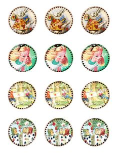 Alice In Wonderland Cupcake Toppers For All by pixieboladesigns