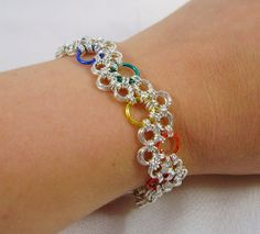 Rainbow Bubbles Japanese Chainmaille by KrystalRingKreations