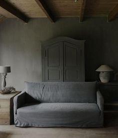 Prachtige linnen fauteuil/bank STOER made in Holland