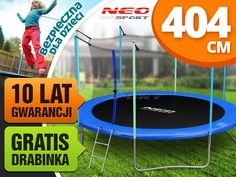 Trampolina ogrodowa 13ft/404cm z siatką wewnętrzną i drabinką Neo-Sport