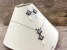 Fekete fehér csillag kristály nyaklánc és fülbevaló szett