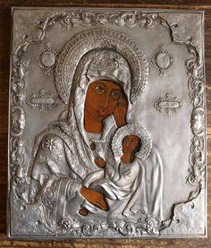Etsy のIcon Our Lady of Kazan Relief Retablo EX-VOTO Santos Byzantine Orthodox Oklad Riza Art Antique Vintage / 149(ショップ名:GliciniaANTIQUE)