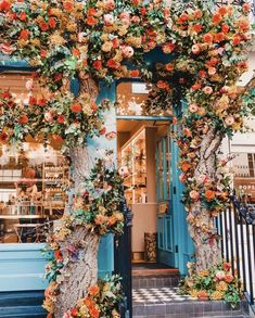 """cafe with bright orange flowers. Travel Destin blue cafe with bright orange flowers. Travel Destinblue cafe with bright orange flowers. Travel Destin like-fairy-tales:""""By: Kathryn Garden Care, Beautiful Flowers, Beautiful Places, Flowers Nature, Beautiful Homes, Fleur Orange, Blue Cafe, Flower Aesthetic, Jolie Photo"""