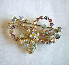 Aurora Borealis Brooch, AB Rhinestone Ribbon Pin Brooch, Aurora Borealis Jewelry