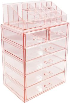 Sorbus Acrylic Cosmetic Makeup and Jewelry Storage Case Display - Spacious Design - Great for Bathroom, Dresser, Vanity and Countertop Large, 2 Small Drawers, Pink) Study Room Decor, Cute Room Decor, Room Ideas Bedroom, Bedroom Decor, Teen Room Decor, Makeup Storage Case, Makeup Storage Organization, Cosmetic Storage, Makeup Case