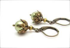Pearl Earrings Ornate Steampunk Earrings Light Forrest Green Drops Swarovski Crystal Pearls Antiqued Goldtone Hawaii Beads. $15.00, via Etsy.