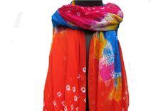 Tie and dye scarf/ multicolored  scarf/ pom pom  scarf/ chiffon scarf/ fashion  scarf/ gift scarf / gift ideas. by vibrantscarves on Etsy