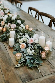 Green Garland Wedding Decor with Peonies + Candles {Life in Bloom} – Wedding Centerpieces Outdoor Wedding Decorations, Garland Wedding, Wedding Table Centerpieces, Centerpiece Ideas, Wedding Ceremony, Centerpiece Flowers, Wedding Greenery, Flower Arrangements, Wedding Venues