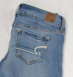 American Eagle Artist Jeans Boot Low Rise Stretch Semi Distressed sz 2 X 31