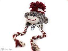 Handmade Crocheted Sock Monkey Hat