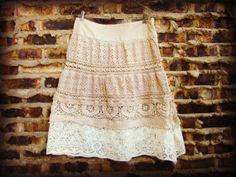 Lg Tea Stained Shabby Chic Skirt// Cotton Eyelet by emmevielle, $63.00