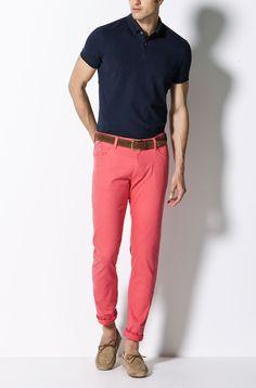 PLAIN SLIM FIT PIQUÉ AND LYCRA POLO SHIRT - Polos & T-shirts - MEN - Netherlands