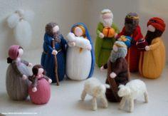 Navidad, Reyes Magos, familia de pastores, dos ovejas, Ángel, hada-Waldorf inspirado cuna de lana