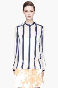 CHLOE Navy and pale grey striped silk Blouse