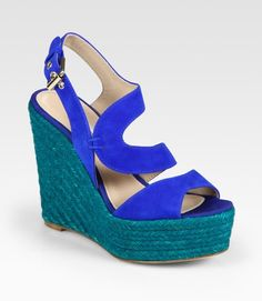 Brian Atwood | Colorblock Espadrille Wedge Sandals