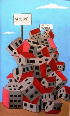 Titolo:Mercato Immobiliare     Misure:30 x 50  Tecnica:Acrilico su masonite  Anno:2009