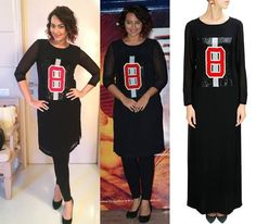 GET THIS LOOK - Sonakshi Sinha rocks this casual look wearing the black sequins patch full length tunic by Huemn by Pranav Mishra and Shyma Shetty She looks super chic! Shop now: http://www.perniaspopupshop.com/designers/huemn #heumn #perniaspopupshop #shopnow #happyshopping