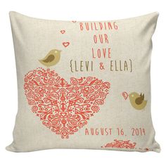 Pillow Cushion Personalized LOVE Wedding by ElliottHeathDesigns