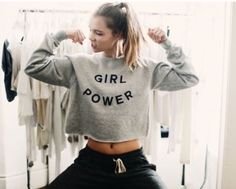 Last-one-brandy-melville-Gray-034-girl-Power-034-nancy-cropped-graphic-sweatshirt