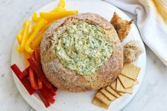 frozen spinach, cream cheese, sour cream, French onion soup mix This vegetarian spinach cob loaf recipe by taste member, 'silvery' is perfect for easy entertaining. Cob Loaf Spinach Dip, Cob Loaf Dip, Spinach And Cheese, Spinach Balls, Creamed Spinach, Loaf Recipes, Dip Recipes, Cooking Recipes, Healthy Recipes