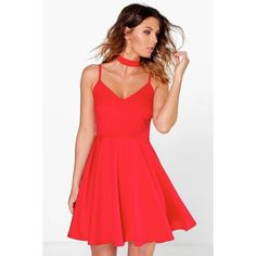 Boohoo Night Poppy Choker Strappy Skater Dress ($35) ❤ liked on Polyvore featuring dresses, red, red cocktail dress, red bodycon dress, sequin party dresses, red tuxedo and red party dresses
