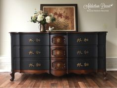 Two tone finish. Serpentine Dresser. French Provincial. General Finishes Java Gel Stain. Plum City Paints. Addiction Decor