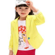 Urparcel Girls Cotton Outerwear Fit Casual Jackets Suit Blazers Candy Color 2-7Y