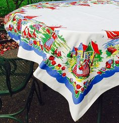 vintage tablecloth with dutch scenes