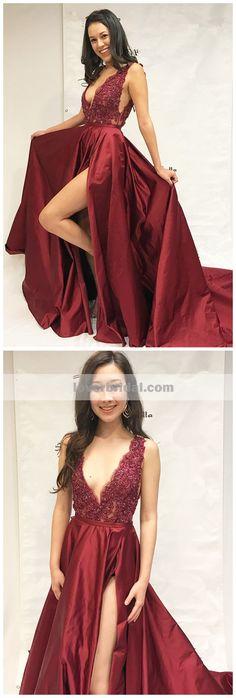 Dark Red Sexy V Neck Side Slit A-line Cheap Evening Prom Dresses,17498