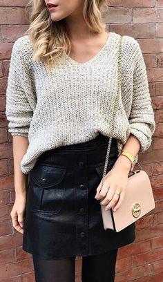 #cute #outfits Grey V-neck Sweater // Leather Skirt // Pink Shoulder Bag