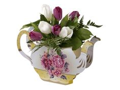 Vintage teapot vase from Talking Tables perfect for an afternoon tea party. A supberb centre centrepiece for a hen party, baby shower or even a vintage wedding. http://www.funkyhen.com/hen-night-partyware/teapot-vase/