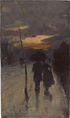 """Tom Roberts. """"Going home."""" 1889. Oil on wood panel."""