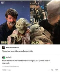 The curious case of Benjamin Button this makes it look like Yoda harvested George Lucas' youth in order to rejuvenate - iFunny :) Star Wars Art, Star Trek, Flick Flack, Funny Memes, Hilarious, Logic Memes, Stupid Funny, Prequel Memes, Star Wars Jokes