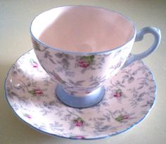 TUSCAN Hot Pink Rosebuds Tea Cup & Saucer by LavenderJaneDesigns, $25.00