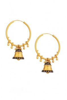 Matt gold hoop earring with bell pendant embellished with zircon and oxidised silver.