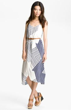 draped print silk dress ++ myne