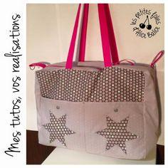 Tutoriel : Mon sac à langer fétiche Diy Pochette, Baby Couture, Baby Sewing, My Bags, Diaper Bag, Baby Kids, Tote Bag, Crochet, Fabric