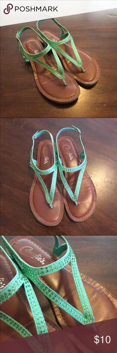 Mint jeweled sandals Candies mint jeweled sandals for sale. These sandals buckle in the back and the straps is adjustable. No holds, trades, modeling. Price firm. #lilkittylady Candie's Shoes Sandals