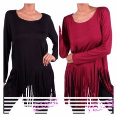 "SOLID FRINGE BOTTOM TOPS! Cute! 95% rayon, 5% spandex-SUPER SOFT! Looks great with jeans, capris, dress pants, skirts, anything! Made in USA PLEASE DO NOT BUY THIS LISTING! I will personalize one for you. ♦️DARK RED SOLD OUT IN 1X.                ♦️1X: BUST 42""                                                                  ♦️2X: BUST 46""                                                                  ♦️3X: BUST 50"" tla2 Tops"