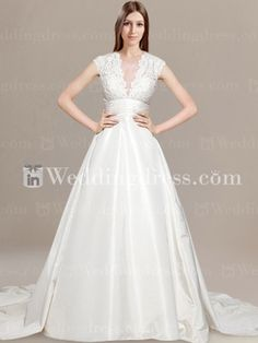 A-line V-neck Taffeta Lace Wedding Dress with Chapel Train DE221  Hopefully I can find the original! Winter wedding