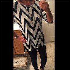 Chevron top White/black chevron top. Brand new bought at a boutique. 95% polyester, 5% spandex. Price is firm on this top. Moa Tops
