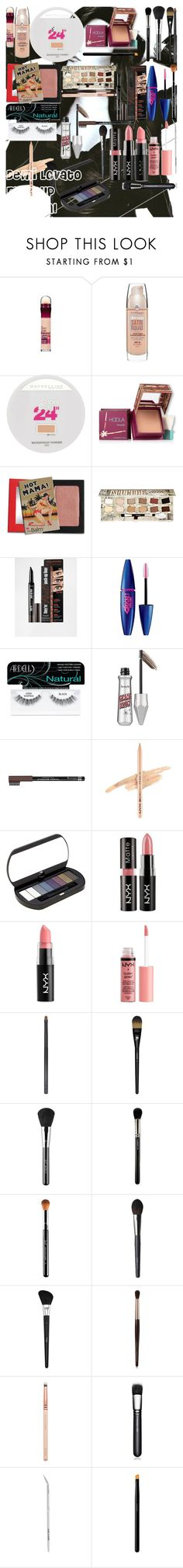 """""""Demi Lovato Makeup Tutorial"""" by oroartye-1 on Polyvore featuring beauty, Maybelline, Hoola, TheBalm, Benefit, Ardell, Rimmel, NYX, Bourjois and Forever 21"""