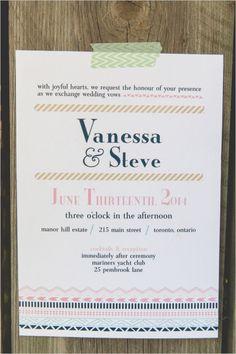 washi tape style wedding invite #uniqueinvitations #weddingchicks http://www.weddingchicks.com/2013/12/23/elcectic-gold-wedding-ideas/