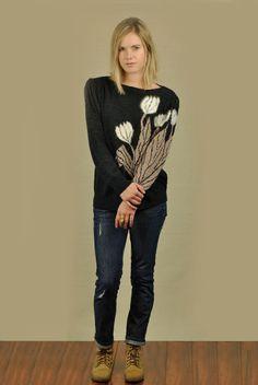Vtg 80s Puff Sleeve Floral Art Angora Knit Grunge Sweater Jumper M | eBay