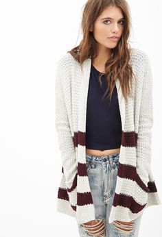 Striped Open-Knit Sweater | FOREVER21 - 2000083638