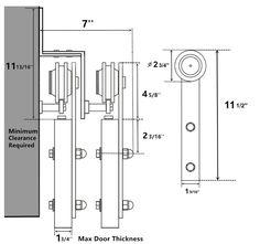 Bypass Sliding Barn Door Hardware Track Kit Set