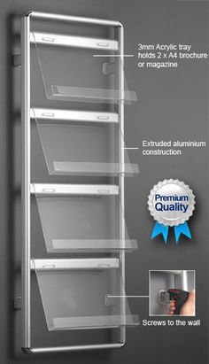 Brochure & Magazine Wall Rack. 4 Tier Literature Stand